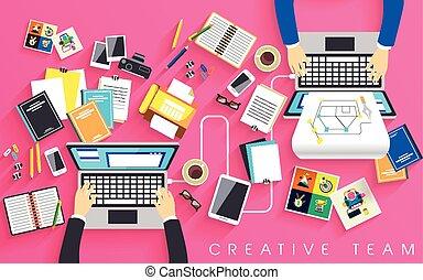werkende plaats, creatief, team, plat