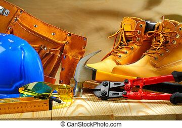 werkende , raad, samenstelling, gereedschap, houten