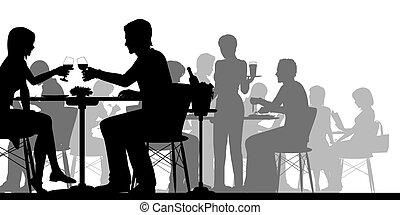 werkende, silhouette, restaurant