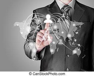 werkende , tonen, moderne, computer, nieuw, zakenman
