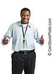werkende , verdragend, werknemer, het glimlachen, badge, vrolijke