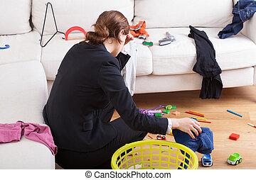 werkende, vrouw, is, moe, haar, workload