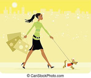 werkende, vrouw winkelen, lopende met hond