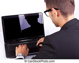 werkende , zakelijk, draagbare computer, achtermening, man