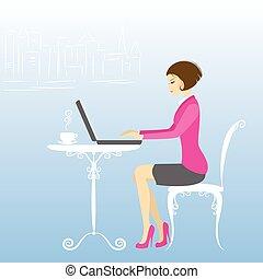 werkende , zakenkantoor, draagbare computer, arbeider, computer, woman., of