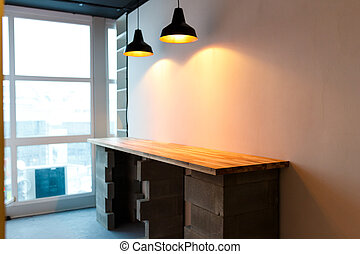 werkkring kookgelegenheid, met, wooden table, en, moderne, edison, light., minimalistic, zolder, ontwerp