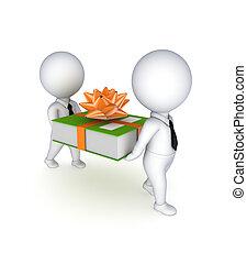 werkkring mensen, groene, kleine, folder., 3d