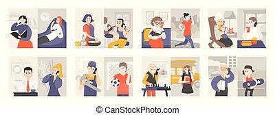 werkkring mensen, klesten, telefoon, besprekingen, thuis