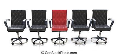 werkkring stoelen, vrijstaand, zwarte achtergrond, stoel, wit rood