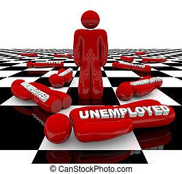 werkloosheid, -, leest, man staand