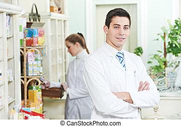 werkmannen , apotheek, twee, apotheker, apotheek