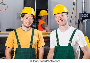 werkmannen , fabriekshal, fabriek, gebied