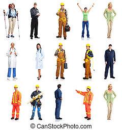 werkmannen , groep, set., mensen