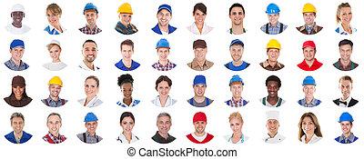 werkmannen , groep, witte achtergrond