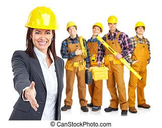 werkmannen , industriebedrijven, mensen