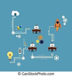 werkmannen , infographic, kantoor