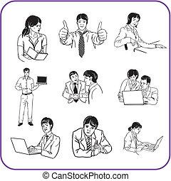 werkmannen , -, kantoor, zakelijk, set.