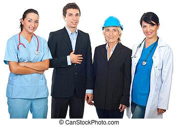 werkmannen , op, witte achtergrond, vrolijke