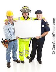 werkmannen , verdragend, meldingsbord