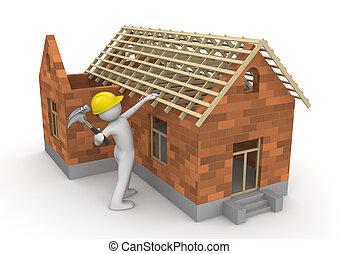 werkmannen , verzameling, -, timmerman, op, dak, hout