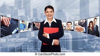 werkmannen , vrouw, groep, mensen., zakelijk