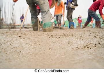 werkmannen , waren, gieten, beton