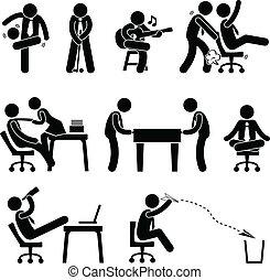 werknemer, arbeider, kantoor, plezier