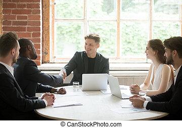 werknemer, bedrijf, baas, handshaking, afrikaan