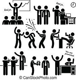 werknemer, belonen, vrolijke , baas