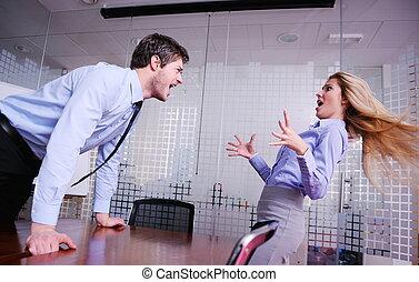 werknemer, busines, boos, gegil, sman