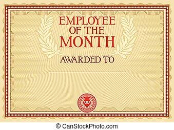 werknemer, -, certificaat, maand