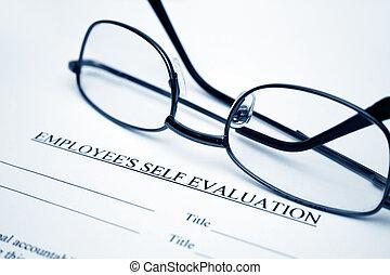 werknemer, evaluatie, zelf, vorm