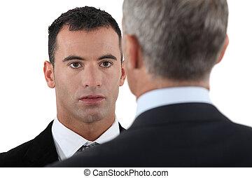 werknemer, hebben, praatje, baas
