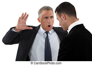 werknemer, het schreeuwen, baas