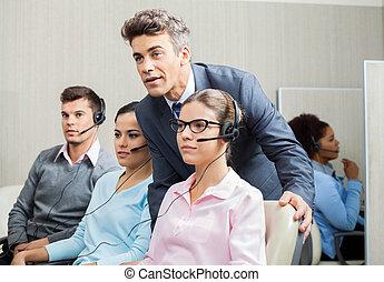 werknemer, het verklaren, directeur, calldesk