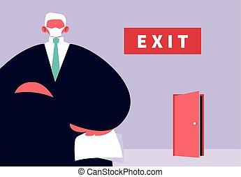 werknemers, groot, werkloosheid, baas, verwerpt, coronavirus
