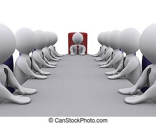 werknemers, vergadering, baas