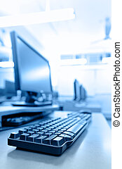 werkplaats, kamer, met, computers