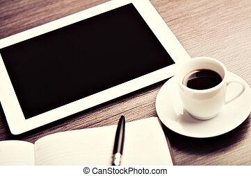 werkplaats, kantoor, desk:, pet, van, koffie, en, tablet pc,...