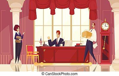werkplaats, samenstelling, president, plat