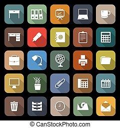 werkruimte, plat, iconen, met, lang, schaduw