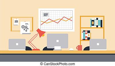 werkruimte, samenwerking, kantoor, illustratie