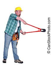 werktuig, arbeider, holle weg, bouwsector, bout, gebruik