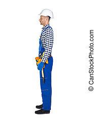 werktuig, arbeider, jonge, uniform, bouwsector, aanzicht, bovenkant, riem