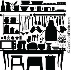 werktuig, bakken, gebakje, keuken