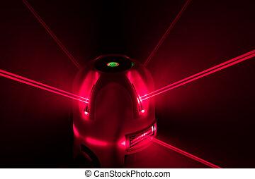 werktuig, laserlicht, niveau, rood, balken