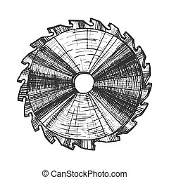 werktuig, lemmet, detail, vector, rondschrijven zag, meubelmakerij