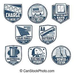 werktuig, macht, batterij, energie, meter, electriciteitsdraad