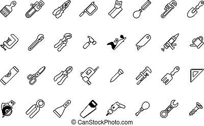 werktuig, set, pictogram