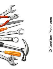 werktuigkundige, gereedschap, op wit